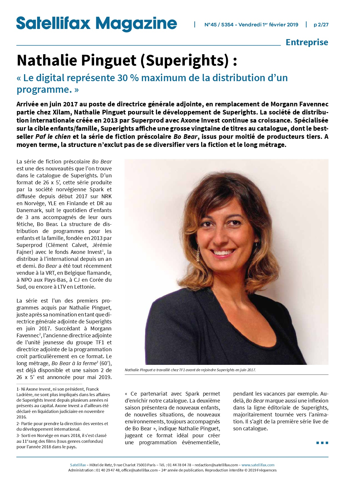 Satellifax Magazine – Interview Nathalie Pinguet